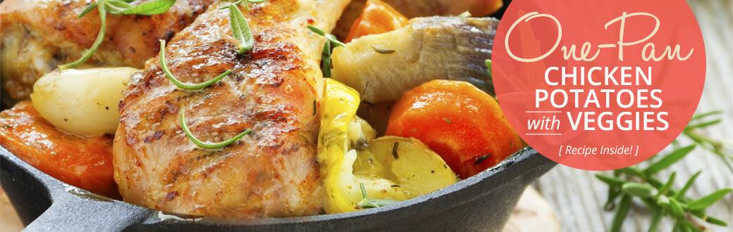 One-Pan Chicken, Potatoes, And Veggies.