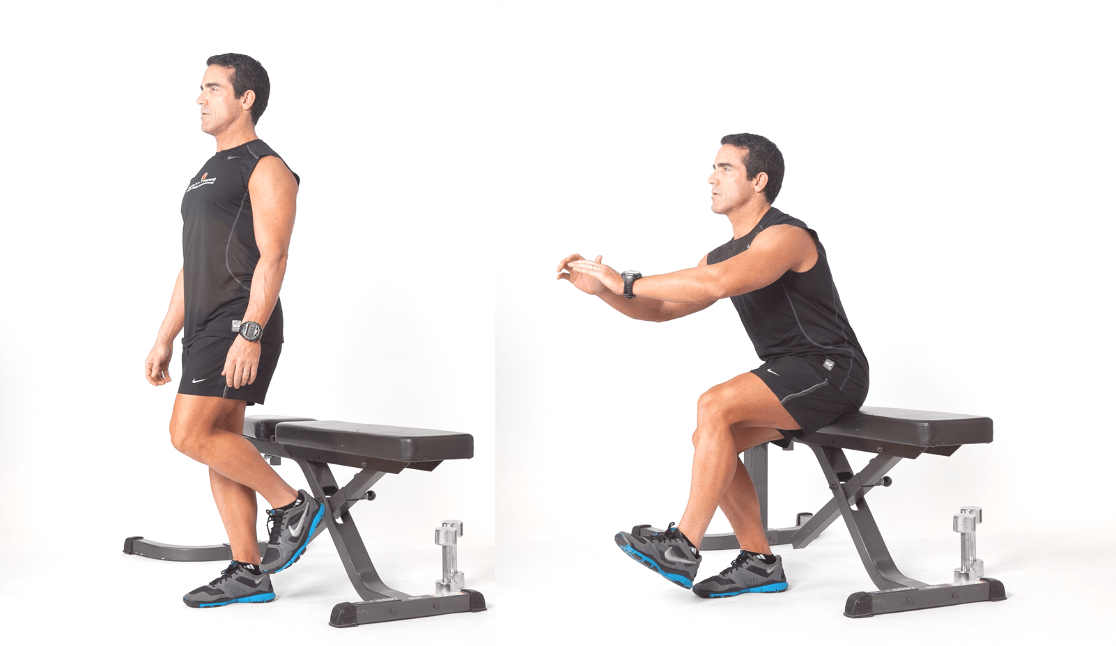A fit man performing a single leg bench squat