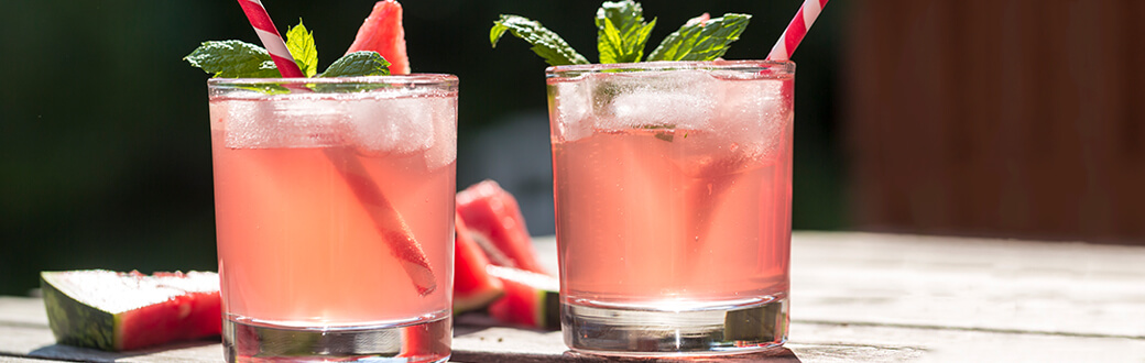 Two glasses of watermelon sparkler