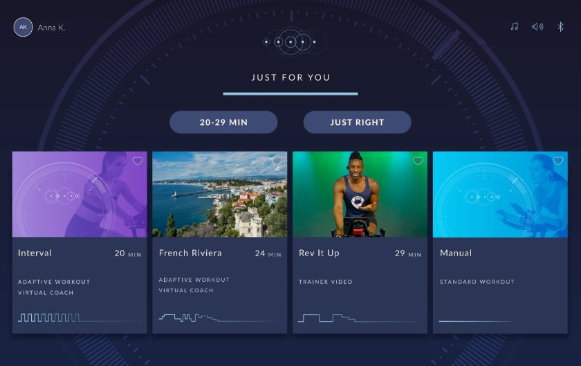 JRNY screen showing tailored workout recommendations
