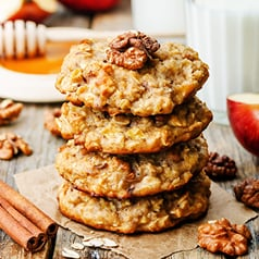 Close-up image of carrot and apple oat cookies