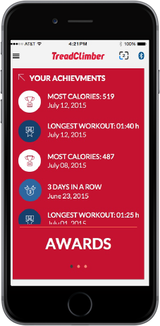 TreadClimber App - Achievement awards