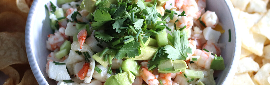 Sea bass and shrimp ceviche in a serving bowl.