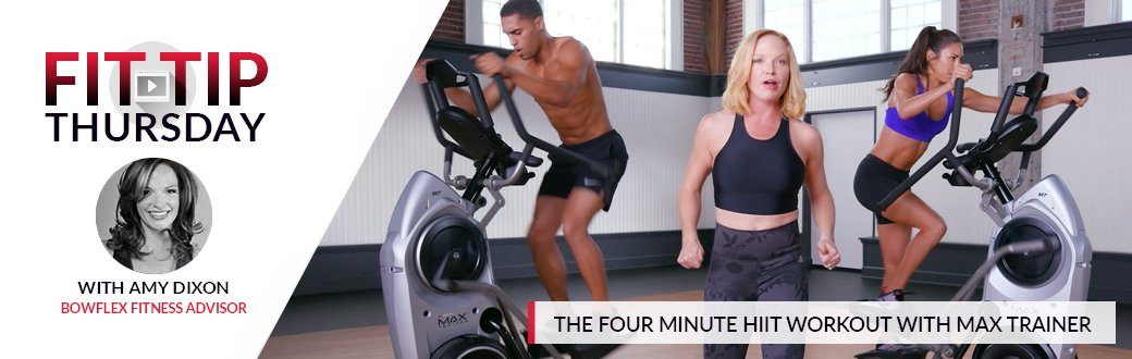Amy Dixon leads two fit people through the four minute HIIT workout on the Bowflex Max Trainer.