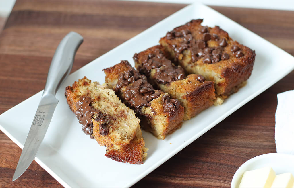chocolate chip banana bread on a plate