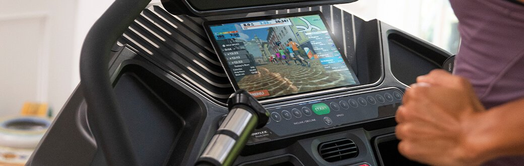 A person using the Explore the World app while using their Bowflex treadmill.