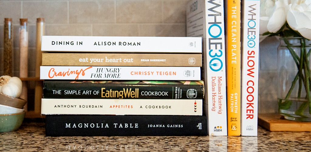 cookbooks on a kitchen counter