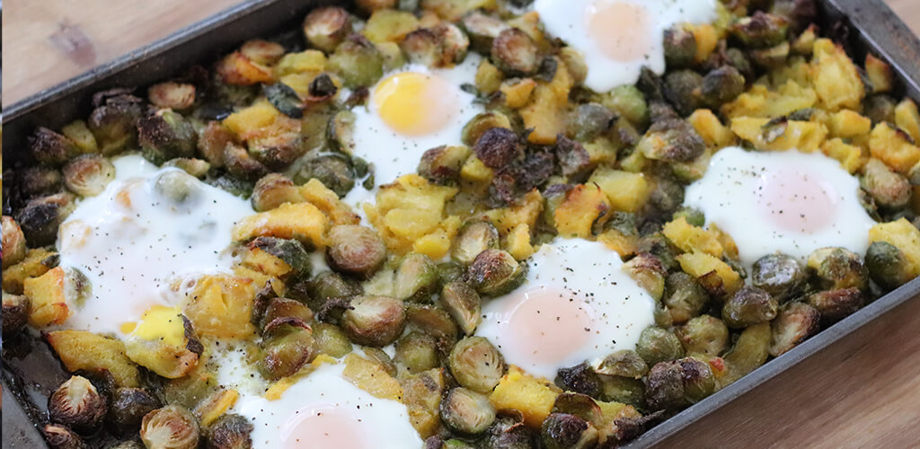 roasted pumpkin and Brussles sprouts topped with eggs