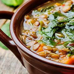 Close up of Crockpot Lentil Soup recipe