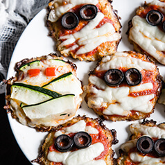 close up image of cauliflower crust pizza bites