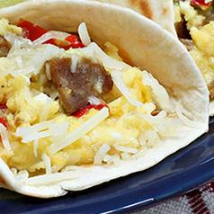Close up of a Breakfast Burrito