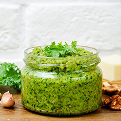 Close up of Kale Walnut Pesto