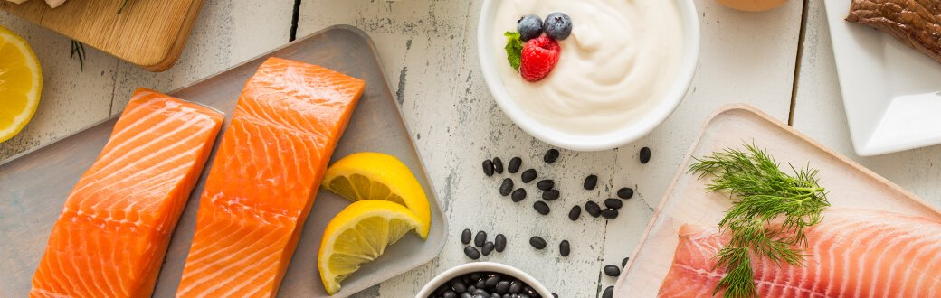 Salmon, yogurt, and other healthy foods
