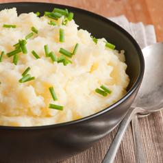 Closeup image of cauliflower mashed potatoes.