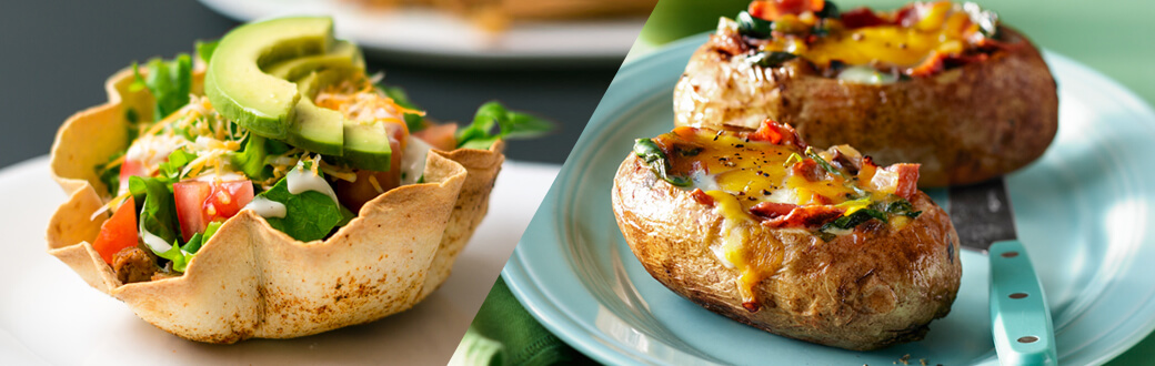 Taco cups and baked potatoes.