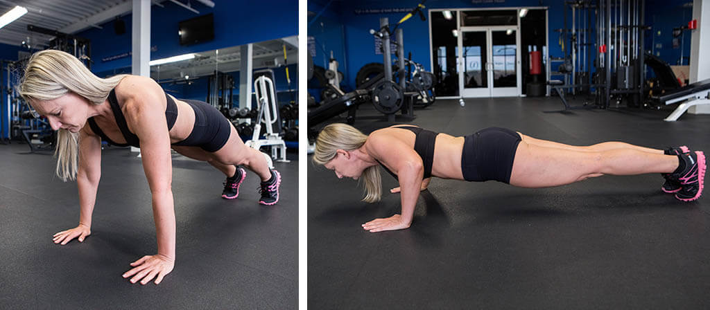 Lisa Traugott doing pushups in a gym