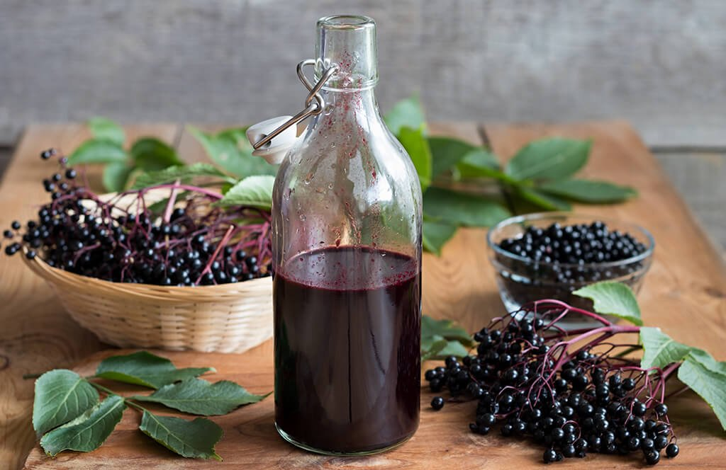 A bottle of Elderberry juice.