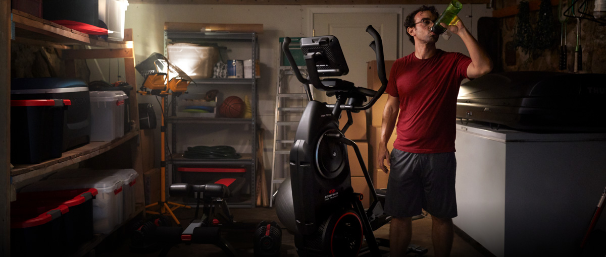 Max Trainer placed in a cramped garage