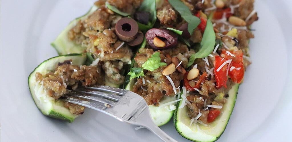 Prepared Greek stuffed zucchinis.