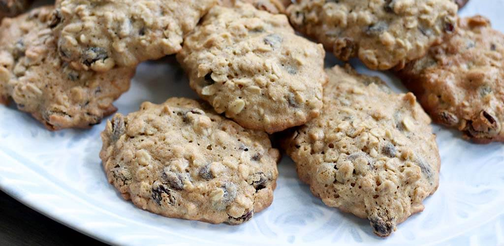 Oatmeal Raisin Cookies on a serving dish.