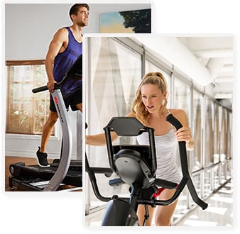 Persons using a TreadClimber and Max Trainer