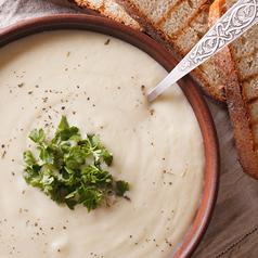 Cauliflower and White Bean Soup closeup