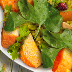 Fall Recipe: Curried Spinach and Sweet Potato Freekeh