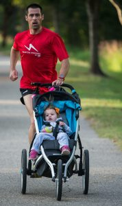 Cal running with a stroller
